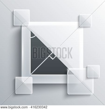 Grey Angle Bisector Of A Triangle Icon Isolated On Grey Background. Square Glass Panels. Vector