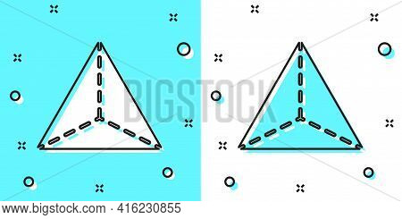 Black Line Geometric Figure Tetrahedron Icon Isolated On Green And White Background. Abstract Shape.