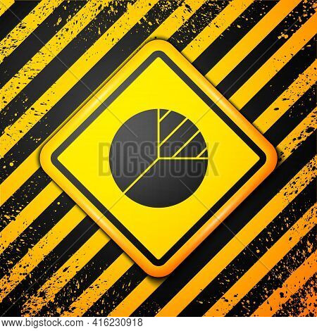 Black Pie Chart Infographic Icon Isolated On Yellow Background. Diagram Chart Sign. Warning Sign. Ve