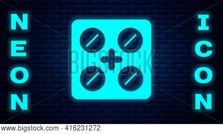 Glowing Neon Pills In Blister Pack Icon Isolated On Brick Wall Background. Medical Drug Package For