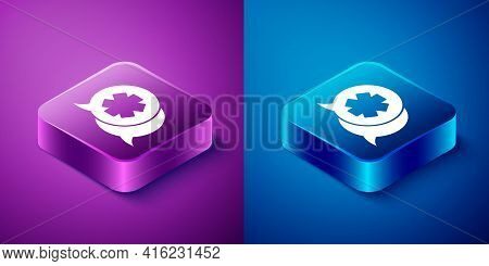 Isometric Dialogue With The Doctor Icon Isolated On Blue And Purple Background. Doctor And Patient D