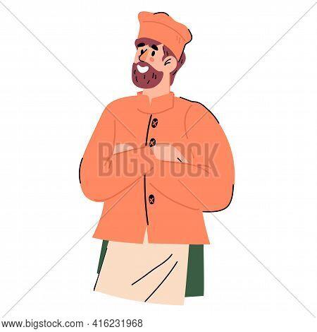 Half-portrait Of Confident Bearded Restaurant Chief Cook, Cartoon Flat Vector Illustration Isolated