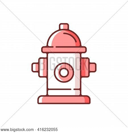 Fire Hydrant Rgb Color Icon. Equipment For Water Supply. Firefighters Department. Flame Extinguishin