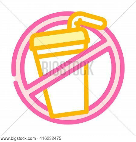 Refusal From Soda Color Icon Vector. Refusal From Soda Sign. Isolated Symbol Illustration