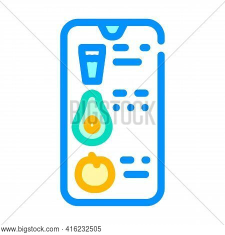 Counting Eaten App Color Icon Vector. Counting Eaten App Sign. Isolated Symbol Illustration
