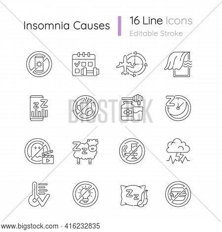 Insomnia Causes Linear Icons Set. Reasons For Bad Sleep. Avoid Sleeplessness. No Caffeine, Fast Food