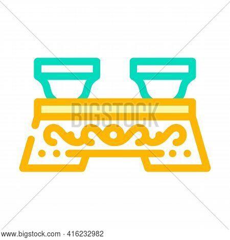 Ceremony Tea Drink Table Color Icon Vector. Ceremony Tea Drink Table Sign. Isolated Symbol Illustrat
