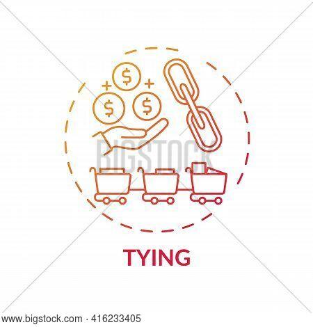 Tying Concept Icon. Mandatory Addition Idea Thin Line Illustration. Product Bundling. Price Discrimi