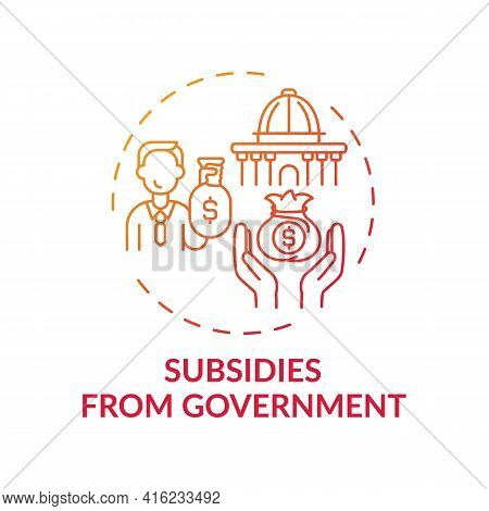 Government Subsidies Concept Icon. Anti-competitive Practice Idea Thin Line Illustration. Payment Fr