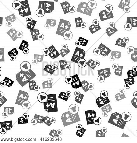 Black Exam Sheet With A Plus Grade Icon Isolated Seamless Pattern On White Background. Test Paper, E