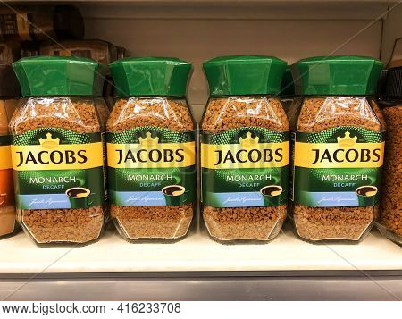 Jacobs Monarch Decaff Freeze Dried Granulated Instant Coffee, Row Of Coffee Glass Jars In A Supermar