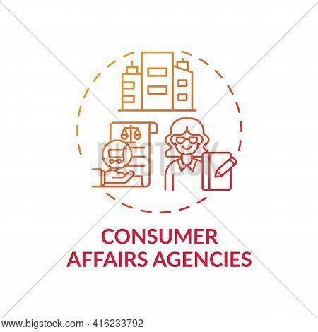 Consumer Affairs Agencies Concept Icon. Customer Protection Service Idea Thin Line Illustration. Col