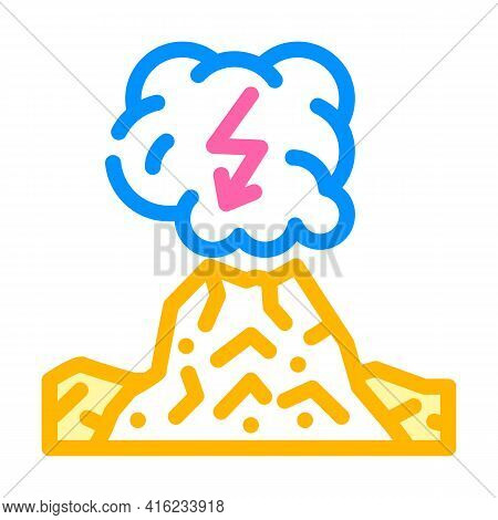 Dirty Thunderstorm Color Icon Vector. Dirty Thunderstorm Sign. Isolated Symbol Illustration
