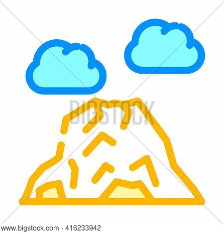 Volcano Mountain Color Icon Vector. Volcano Mountain Sign. Isolated Symbol Illustration