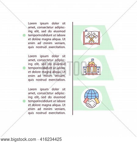 Legislation Concept Line Icons With Text. Ppt Page Vector Template With Copy Space. Brochure, Magazi