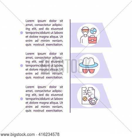 Migrant Worker Deception Concept Line Icons With Text. Ppt Page Vector Template With Copy Space. Bro