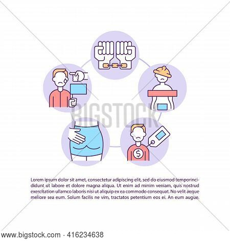 Migrant Workers Abuse Concept Line Icons With Text. Ppt Page Vector Template With Copy Space. Brochu