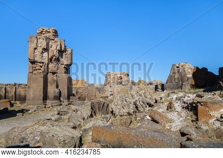 Ruins Of Columns & Decorative Elements Inside Church Of St Gregory In Medieval City Ani, Near Kars,