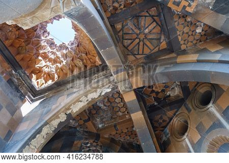 Remains Of Ceiling, Walls & Ornaments Inside Church Of Holy Apostles In Medieval City Ani, Near Kars