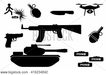 Set Of Black Icons Of Weapons: Machine Gun And Two Grenades, Human Icon And Mine, Knife And Pistol,