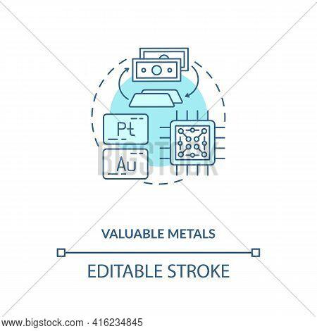 Valuable Metals Concept Icon. E-waste Component Idea Thin Line Illustration. Platinum, Gold. Contact