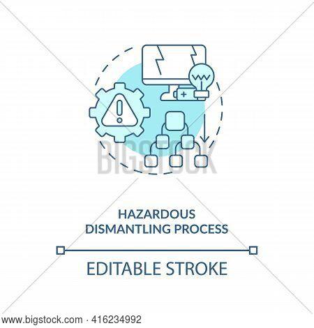 Hazardous Dismantling Process Concept Icon. E-waste Management Challenge Idea Thin Line Illustration