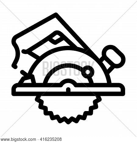 Circular Saw Line Icon Vector. Circular Saw Sign. Isolated Contour Symbol Black Illustration