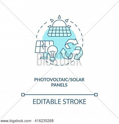 Photovoltaic And Solar Panels Concept Icon. E-waste Category Idea Thin Line Illustration. Separating