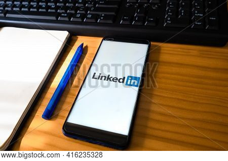 Spain, 04, 08, 2021. A Smartphone With Linkedin Application On The Screen. Linkedin Is A Business-or