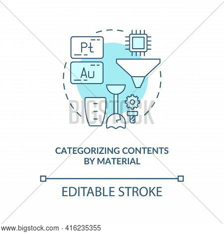 Categorizing Contents By Material Concept Icon. E-waste Recycling Idea Thin Line Illustration. Categ