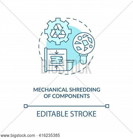 Mechanical Components Shredding Concept Icon. E-waste Recycling Step Idea Thin Line Illustration. In