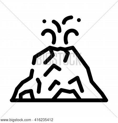 Eruption Volcano Line Icon Vector. Eruption Volcano Sign. Isolated Contour Symbol Black Illustration
