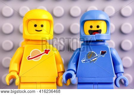 Tambov, Russian Federation - June 04, 2020 Two The Lego Movie 2 Astronaut Minifigures - Benny And Ke