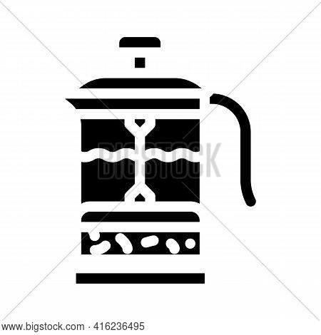 Teapot Press Glyph Icon Vector. Teapot Press Sign. Isolated Contour Symbol Black Illustration