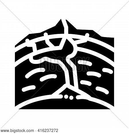 Volcano Formation Process Glyph Icon Vector. Volcano Formation Process Sign. Isolated Contour Symbol