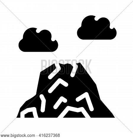 Volcano Mountain Glyph Icon Vector. Volcano Mountain Sign. Isolated Contour Symbol Black Illustratio