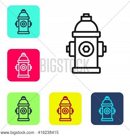 Black Line Fire Hydrant Icon Isolated On White Background. Set Icons In Color Square Buttons. Vector