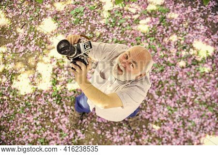 So Happy. Professional Photographer Designer. Happy Retirement. Man Tourist Use Camera Take Photo Of