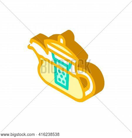 Teapot For Boiling Tea Isometric Icon Vector. Teapot For Boiling Tea Sign. Isolated Symbol Illustrat