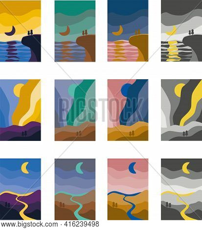 Abstract Landscape Colorful Background. Mountain, Sea, River, Aurora Boreal Art Poster Set Of Vector