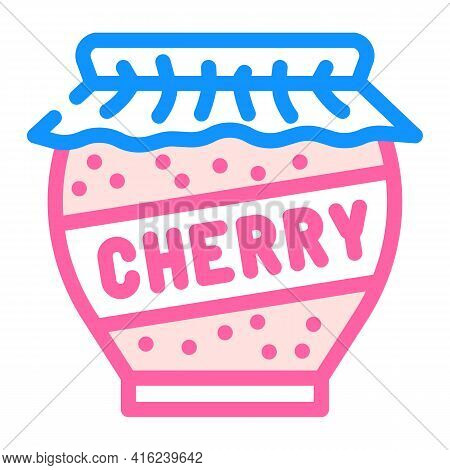 Cherry Jam Home Preservation Canned Food Color Icon Vector. Cherry Jam Home Preservation Canned Food