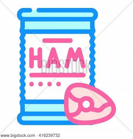 Ham Canned Food Color Icon Vector. Ham Canned Food Sign. Isolated Symbol Illustration