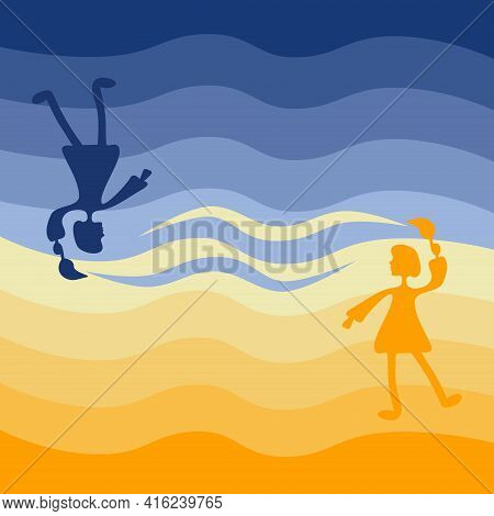 Two Girls Color The Sky Opposite Each Other. Could Be A Concept For The Sun And Moon, Hot And Cold,