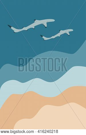 Two Reef Sharks Swimming Near Sea Shore On Abstract Seascape Background, Sand, Water Vector Illustra