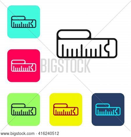 Black Line Tape Measure Icon Isolated On White Background. Measuring Tape. Set Icons In Color Square