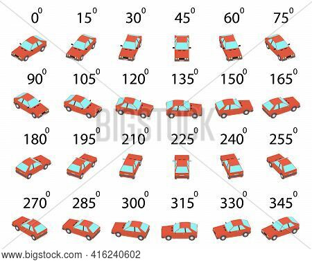 A Set Of 24 Compact Family Car From Different Angles. Rotation Of The Red Compact Car By 15 Degrees