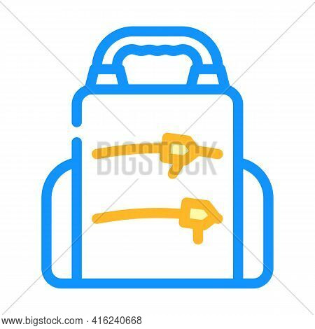 Backpack Lunchbox Color Icon Vector. Backpack Lunchbox Sign. Isolated Symbol Illustration