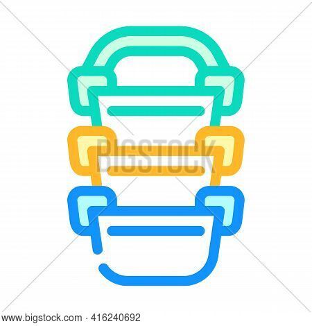 Multi-tiered Lunchbox Color Icon Vector. Multi-tiered Lunchbox Sign. Isolated Symbol Illustration