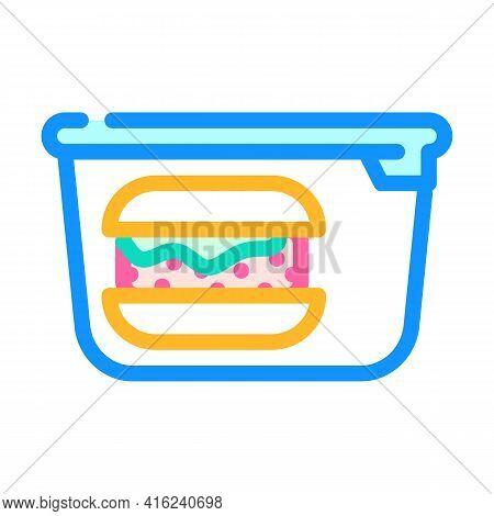 Hamburger Lunchbox Color Icon Vector. Hamburger Lunchbox Sign. Isolated Symbol Illustration
