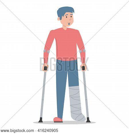 Man On Crutches With A Broken Leg